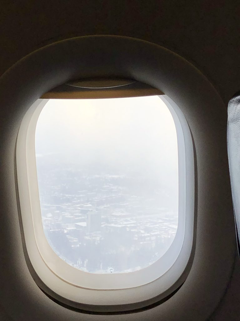 View of Finland from the air during winter.