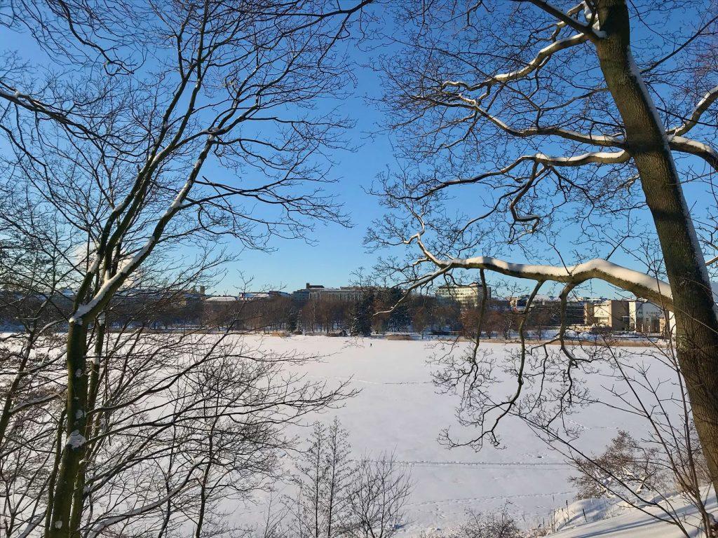 Snow at Töölönlahti in Helsinki Finland