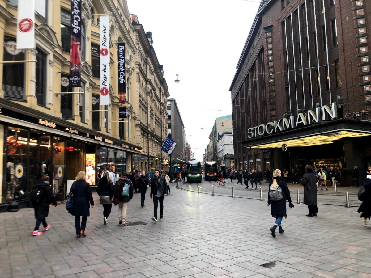 Pedestrians on the street in central Helsinki Finland