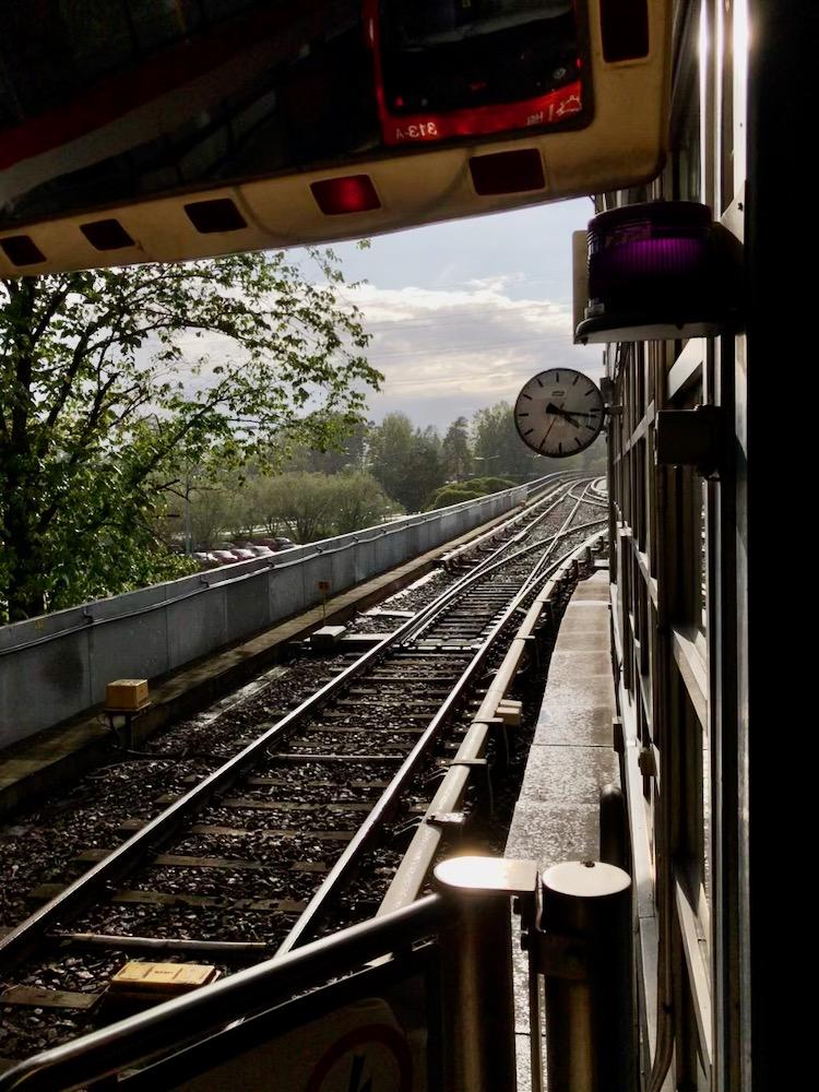Metro train tracks in East Helsinki Finland.