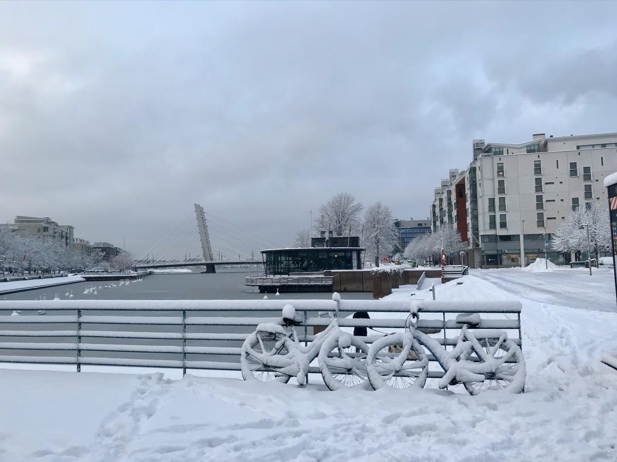 Frozen bikes in Helsinki, Finland