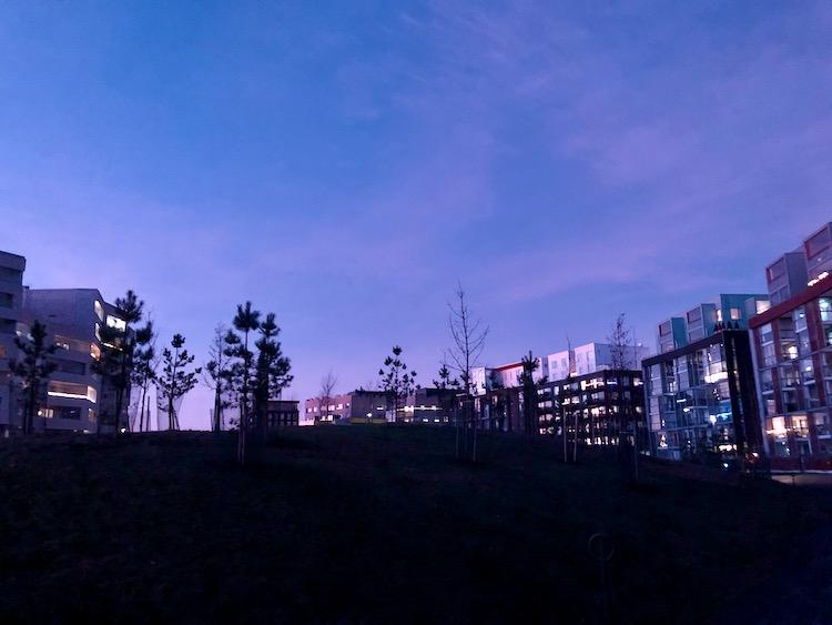 A park and apartment buildings in Jätkäsaari, Helsinki, Finland.